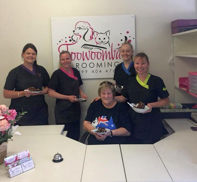 Cake time for some of the groomers at the Newtown grooming salon